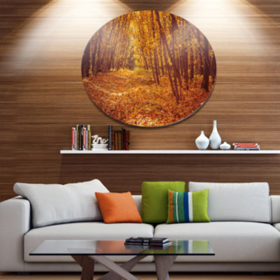 Designart Yellow Forest and Fallen Leaves Disc Forest Large Metal Circle Wall Art
