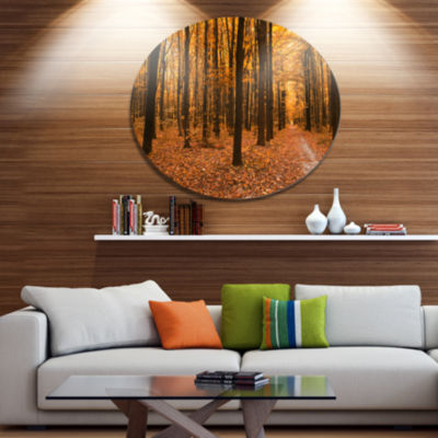 Designart Yellow Trees and Fallen Leaves Disc Forest Large Metal Circle Wall Art