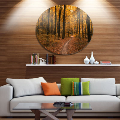 Designart Path in the Yellow Fall Forest Disc Forest Large Metal Circle Wall Art