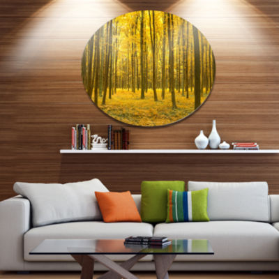 Designart Bright Yellow Autumns Forest Disc ForestLarge Metal Circle Wall Art