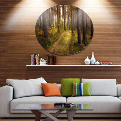 Designart Road through Thick Fall Forest Disc Forest Large Metal Circle Wall Art