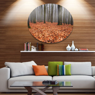Designart Enchanted and Magical Fall Forest Disc Forest Large Metal Circle Wall Art