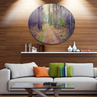 Designart Straight Pathway in Thick Forest Disc Forest Large Metal Circle Wall Art