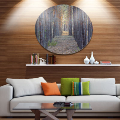 Designart Slender Pine Tree Forest Photography Disc Forest Large Metal Circle Wall Art
