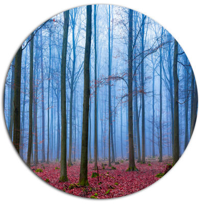 Designart Foggy Forest in Blue and Pink Photo DiscForest Large Metal Circle Wall Art
