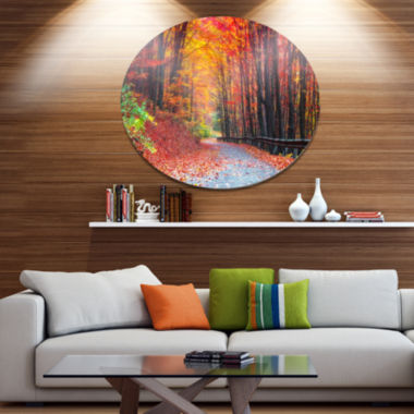Designart Road in Beautiful Autumn Forest Disc Forest Large Metal Circle Wall Art
