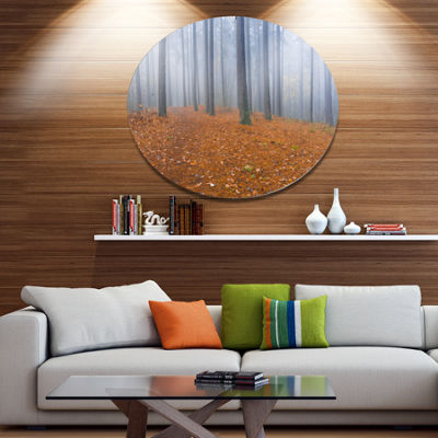 Designart Foggy Dense Forest in autumn Disc ForestLarge Metal Circle Wall Art