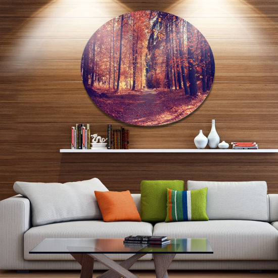 Designart Thick Woods in Colorful Fall Forest DiscForest Large Metal Circle Wall Art