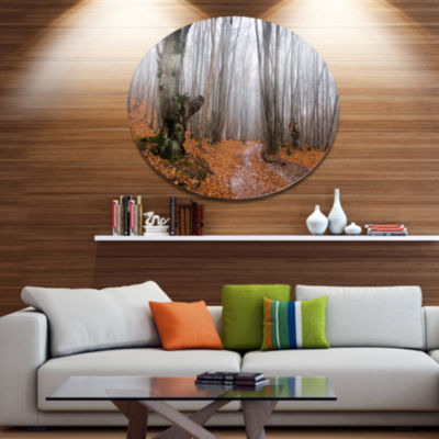 Designart Road Covered by Fallen Leaves Disc Forest Large Metal Circle Wall Art