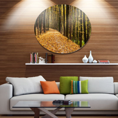Designart Dense Autumn Forest Woods Disc Forest Large Metal Circle Wall Art