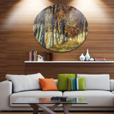Designart Colorful and Serene Autumn Forest Disc Forest Large Metal Circle Wall Art