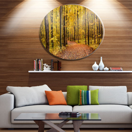 Designart Bright Autumn Forest Panorama Disc Forest Large Metal Circle Wall Art