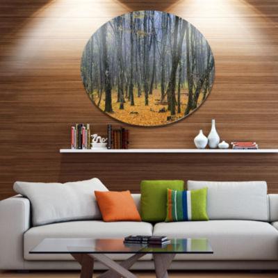Designart Dark Woods in Autumn Forest Disc ForestLarge Metal Circle Wall Art