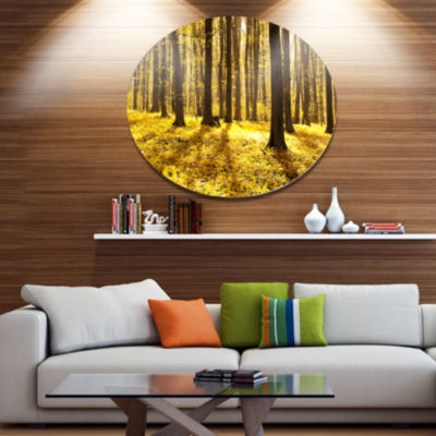 Designart Bright Green Forest at Sunset Disc Forest Large Metal Circle Wall Art