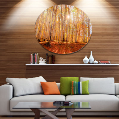 Designart Colorful Red Forest at Sunset Disc Forest Large Metal Circle Wall Art