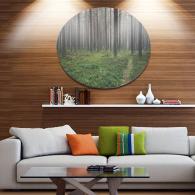 Designart Foggy Dense Forest with Grass Disc Forest Large Metal Circle Wall Art