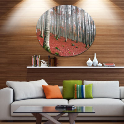 Designart Serene Fall Forest with Red Ground DiscForest Metal Circle Wall Arts