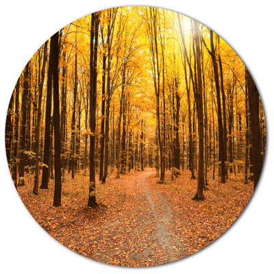 Designart Yellow Treetops in Fall Forest Disc Forest Metal Circle Wall Arts
