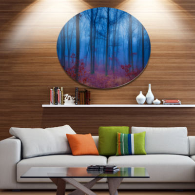 Designart Mysterious Blue Thick Woods Disc ForestMetal Circle Wall Arts
