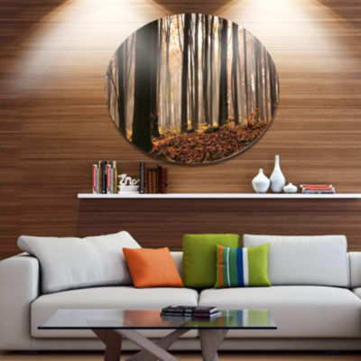 Designart Dark Thick Woods in Fall Forest Disc Forest Metal Circle Wall Arts