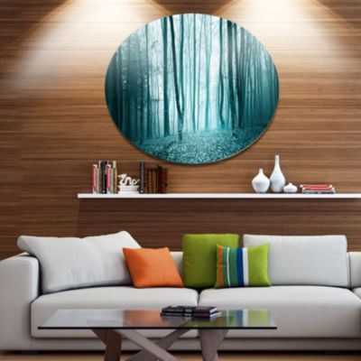 Designart Turquoise Colored Magic Forest Disc Forest Metal Circle Wall Arts