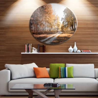 Designart Straight Road in Fall Birch Grove Disc Forest Metal Circle Wall Arts