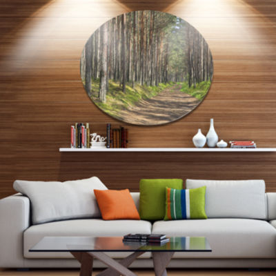 Designart Beautiful Road Through Thick Woods DiscForest Metal Circle Wall Arts