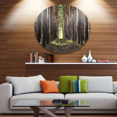Designart Even Rows of Pine Tree Forest Disc Forest Metal Circle Wall Arts