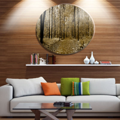 Designart Wooded Forest Panoramic View Disc ForestMetal Circle Wall Arts