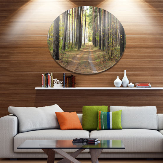 Designart Pathway in Autumn Pine Forest Disc Forest Metal Circle Wall Arts