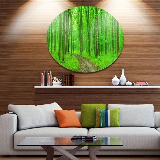 Designart Pathway in Bright Green Forest Disc Forest Metal Circle Wall Arts