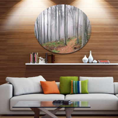 Designart Thick Woods in Morning Forest Disc Forest Metal Circle Wall Arts