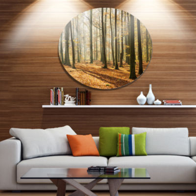 Designart Bright Autumn Day in Thick Forest Disc Forest Metal Circle Wall Arts