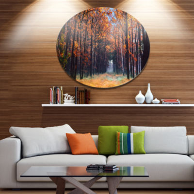 Designart Alley in the Dense Autumn Forest Disc Forest Metal Circle Wall Art