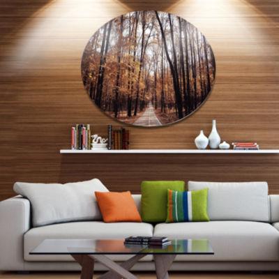 Designart Road in Autumn Golden Forest Disc ForestMetal Circle Wall Art