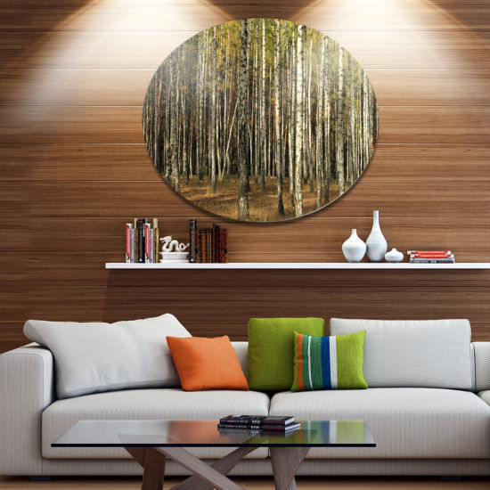 Designart Green Fall Forest with Thick Trees DiscForest Metal Circle Wall Art