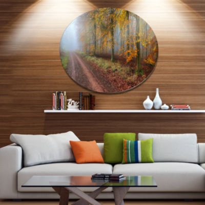 Designart Raising Sun in Fall Forest Panorama DiscForest Metal Circle Wall Art