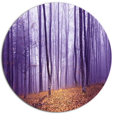 Designart Magenta Foggy Fairytale Forest Disc Forest Metal Circle Wall Art