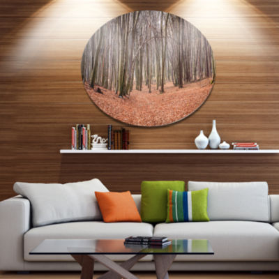 Designart Leaves in the Thick Fall Forest Disc Forest Metal Circle Wall Art