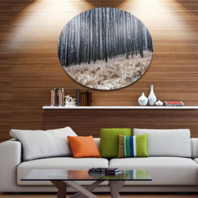 Designart Moody Cold Forest with Thick Woods DiscForest Metal Circle Wall Art