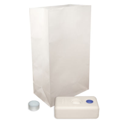 Candle Luminaria Kit- White  Set of 6