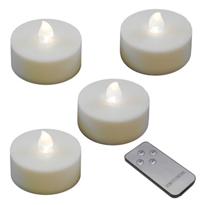 Battery Operated Extra Large Tea Lights with Remote Control and 2 Timers (Set of 4)