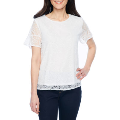 Liz Claiborne Elbow Sleeve Round Neck Chiffon Embroidered Floral Blouse-Petite