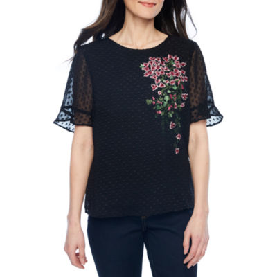 Liz Claiborne Elbow Sleeve Round Neck Chiffon Embroidered Floral Blouse-Petites