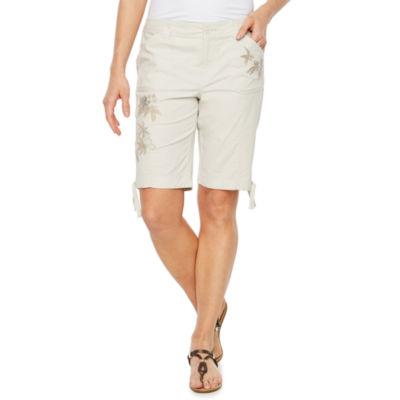 St. John's Bay Modern Fit Cargo Comfort Waistband Bermuda Shorts