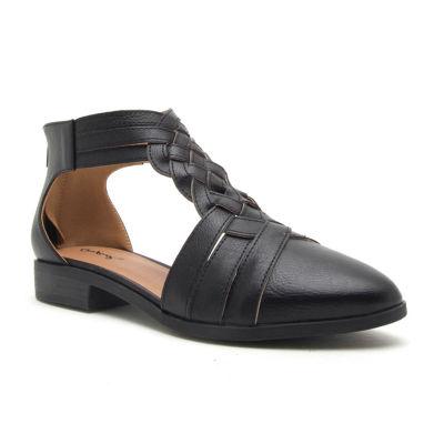 Qupid Womens Tuxedo 124 Flat Heel Zip Booties
