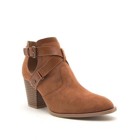 Qupid Womens Prenton 81xx Stacked Heel Buckle Booties