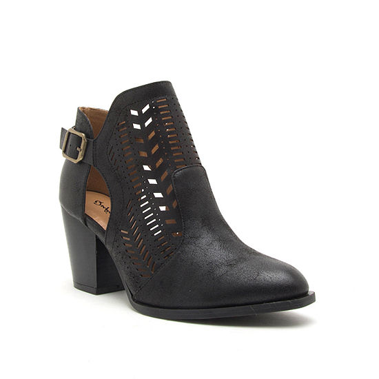 Qupid Womens Prenton 86x Stacked Heel Buckle Booties