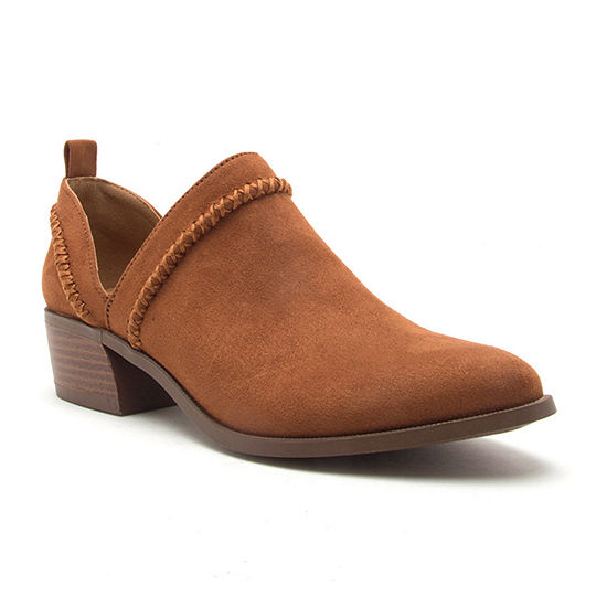 Qupid Womens Rager 24 Pull-on Stacked Heel Booties