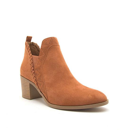Qupid Womens Topanga 40 Stacked Heel Pull On Booties